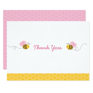 Pink Bumble Bee Baby Shower Thank You Card