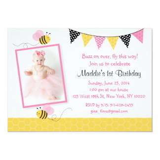 "Pink Bumble Bee Birthday Invitations 5"" X 7"" Invitation Card"