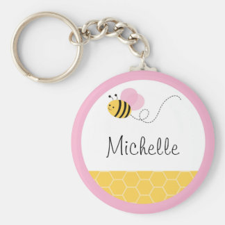 Pink Bumble Bee Keychain