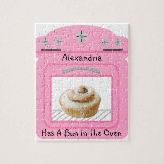 Pink Bun In The Oven New Baby On The Way Jigsaw Puzzle