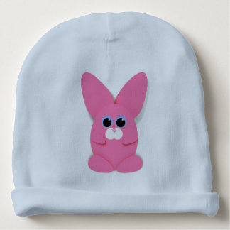 Pink Bunn on a Blue Baby Hat Baby Beanie