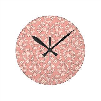Pink Bunnies Nursery Wall Clock