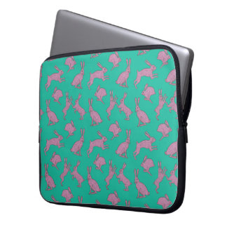 Pink Bunnies on Green Background Laptop Case