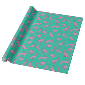 Pink Bunnies on Green Wrapping Paper