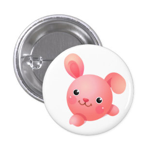Pink Bunny 1 Inch Round Button