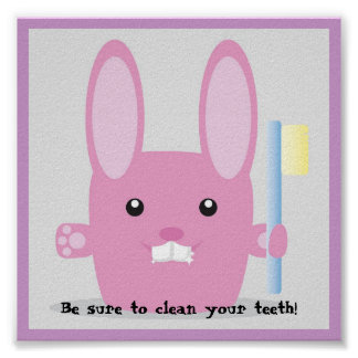 Pink bunny cleaning teeth awerness poster