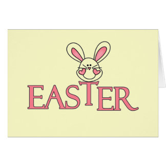 Pink Bunny Easter T-shirts and Gifts Card