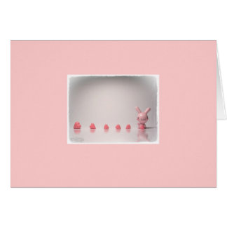pink bunny & heart candy note cards