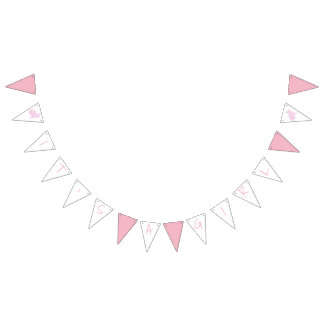 Pink Bunny It's A Girl Baby Shower Bunting Flags