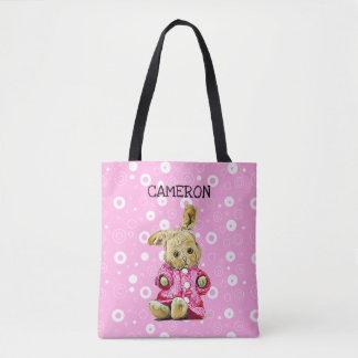 Pink Bunny Personalized White Polka Dot Tote Bag
