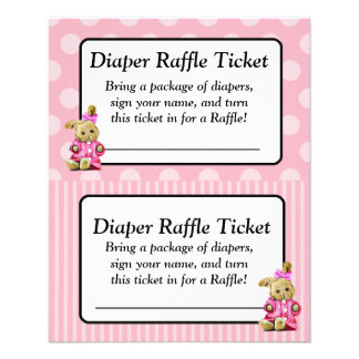 Pink Bunny Pink Baby Shower Raffle Ticket Flyer