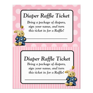 Pink Bunny Pink Coral Baby Shower Raffle Ticket Flyer