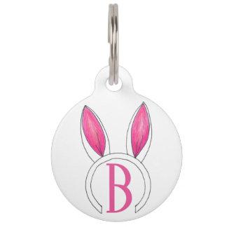 Pink Bunny Rabbit Ears Monogram B Initial Easter Pet ID Tag