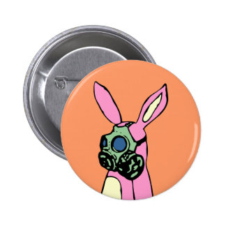 Pink Bunny Rabbit Gas Mask 2 Inch Round Button