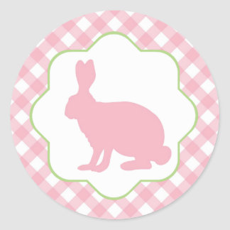 Pink bunny rabbit  gingham checks round sticker