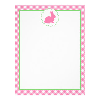 Pink Bunny Silhouette Letterhead Template