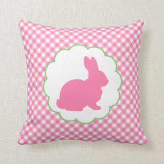 Pink Bunny Silhouette Throw Pillow