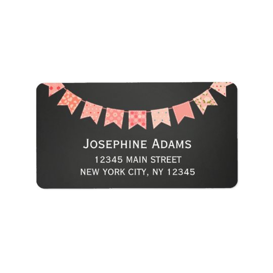 Pink Bunting Address Labels Chalkboard