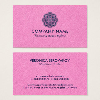 Pink Burlap Linen With Navy Blue Mandala Business Card