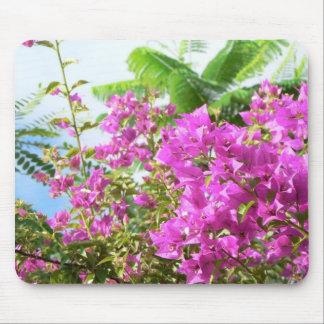 Pink Bush Flowers Mouse Pad