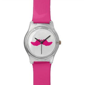 Pink Bushy Mustache Moustache Funny Angel Wings Watch