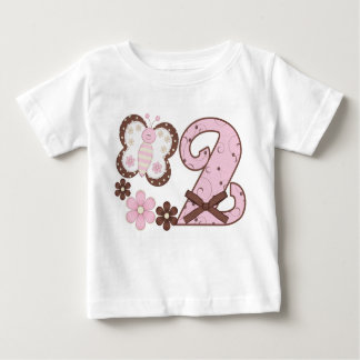 Pink Butterf2nd Birthday Baby T-Shirt