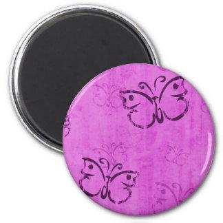 Pink Butterflies 2 Inch Round Magnet