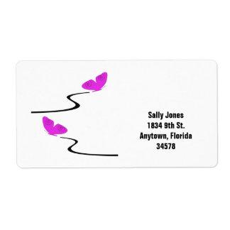 Pink butterflies address label