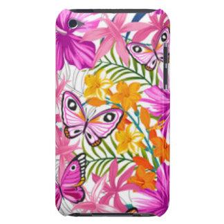 Pink Butterflies Flower Pattern Print Design iPod Touch Case