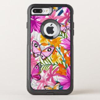 Pink Butterflies Flower Pattern Print Design OtterBox Commuter iPhone 8 Plus/7 Plus Case