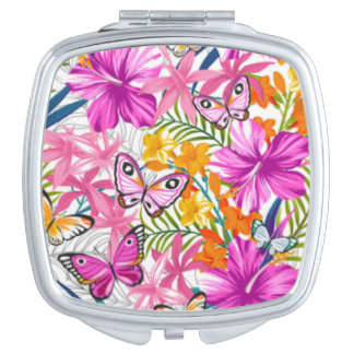 Pink Butterflies Flower Pattern Print Design Travel Mirrors