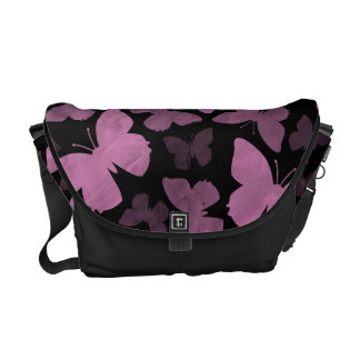 Pink Butterflies on Black Courier Bag