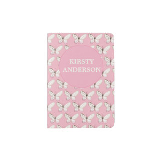 Pink Butterflies Personalized Passport Holder