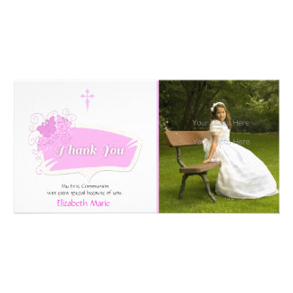 Pink Butterflies Religious Photo Card