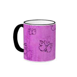 Pink Butterflies Ringer Coffee Mug