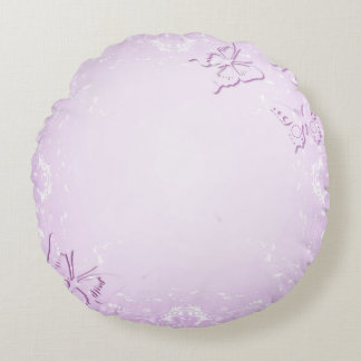 Pink butterflies round pillow