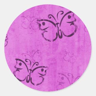 Pink Butterflies Round Sticker