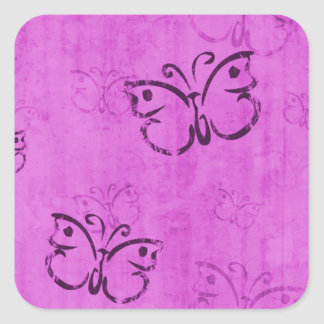 Pink Butterflies Square Sticker