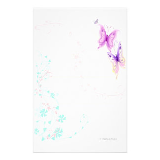Pink Butterflies Stationery