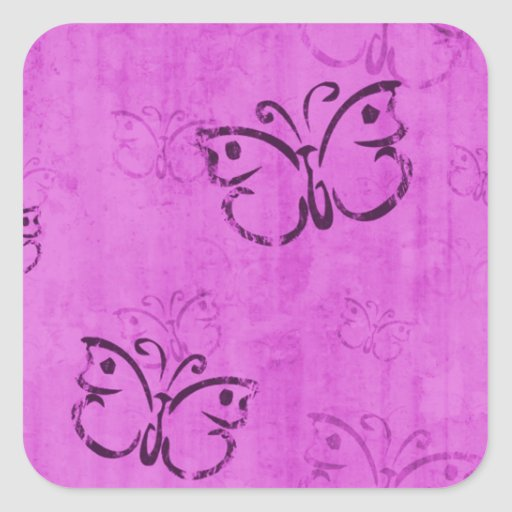 Pink Butterflies Square Stickers