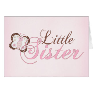 Pink Butterfly 2 Little Sister Note Card