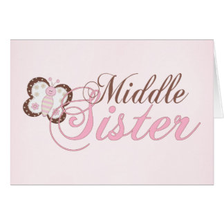 Pink Butterfly 2 Middle Sister Note Card