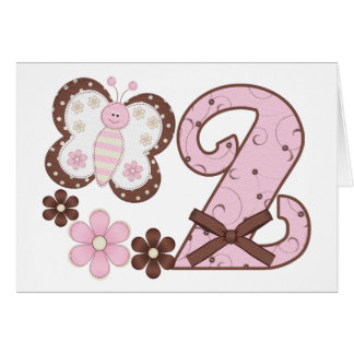 Pink Butterfly 2nd Birthday Invitations Note Card