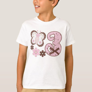 Pink Butterfly 3rd Birthday T-Shirt