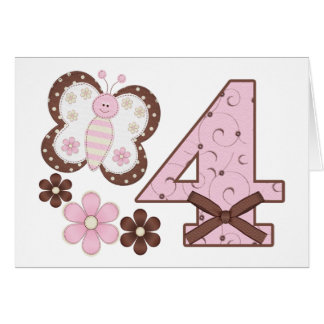 Pink Butterfly 4th Birthday Invitations Note Card