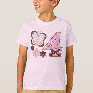 Pink Butterfly 4th Birthday T-Shirt