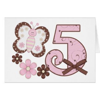 Pink Butterfly 5th Birthday Invitations Note Card