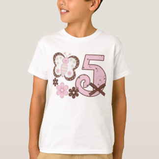 Pink Butterfly 5th  Birthday T-Shirt