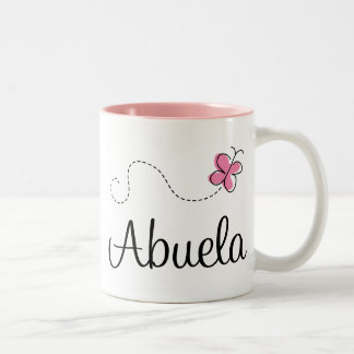 Pink Butterfly Abuela Gift Tee Two-Tone Coffee Mug
