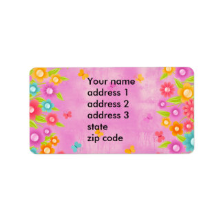 Pink butterfly and flowers Address labels